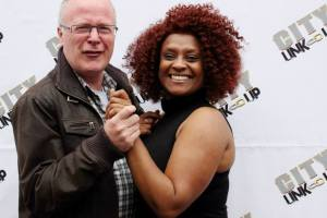 Organizer Cyrlene Braithwaite with broadcaster John Sinclair