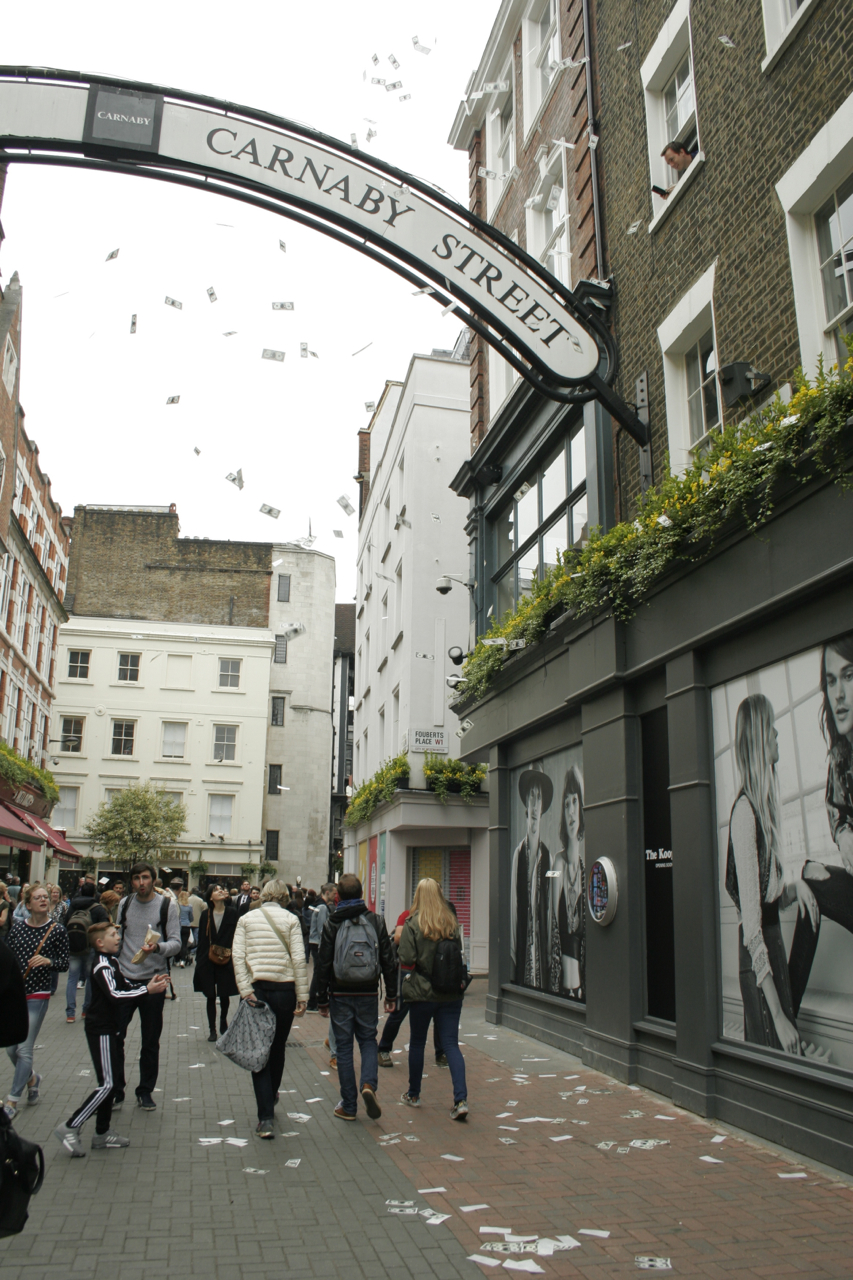 Money Rains Down in Carnaby Street London